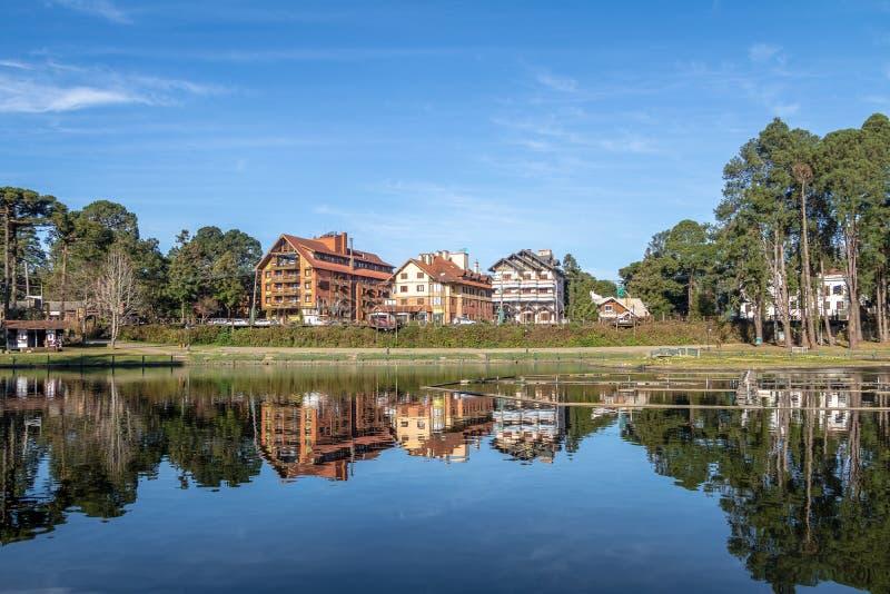 Joaquina Rita Bier Square e lago - Gramado, Rio Grande do Sul, Brasil imagem de stock royalty free