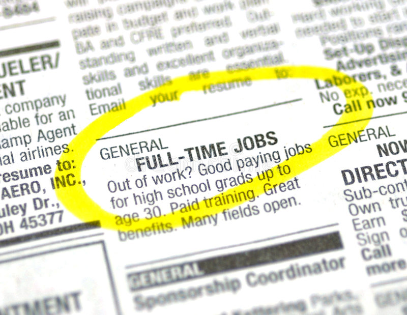 Job ad. In the classified section of the paper
