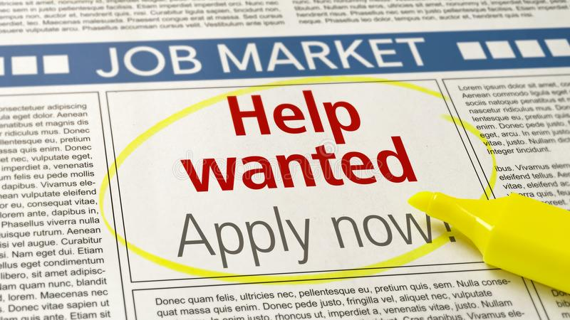 Job ad in a newspaper - Help wanted royalty free stock photo