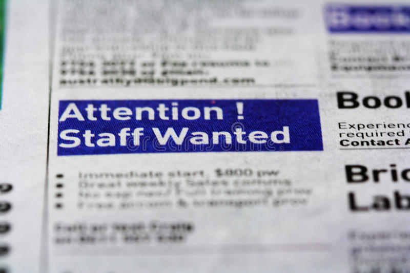 Job Ad - Staff Wanted. Job ad in the classified section of the paper royalty free stock image