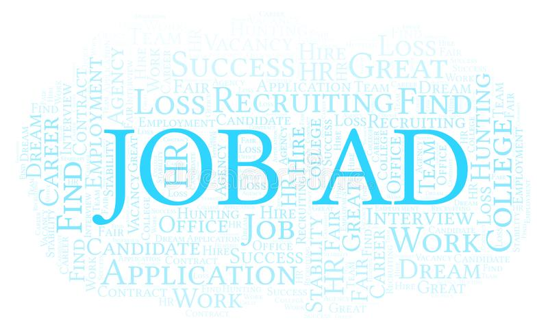 Job Ad word cloud. Wordcloud made with text only vector illustration