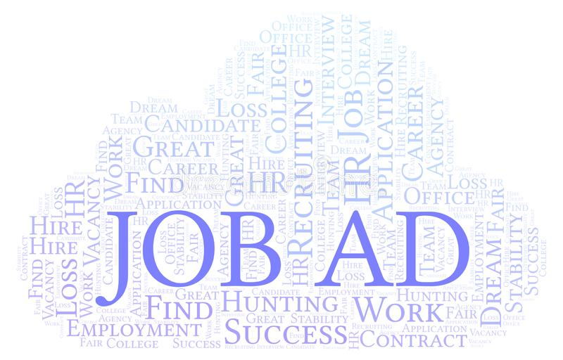Job Ad word cloud. Wordcloud made with text only stock illustration