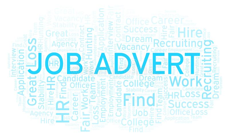 Job Advert-Wortwolke stock abbildung
