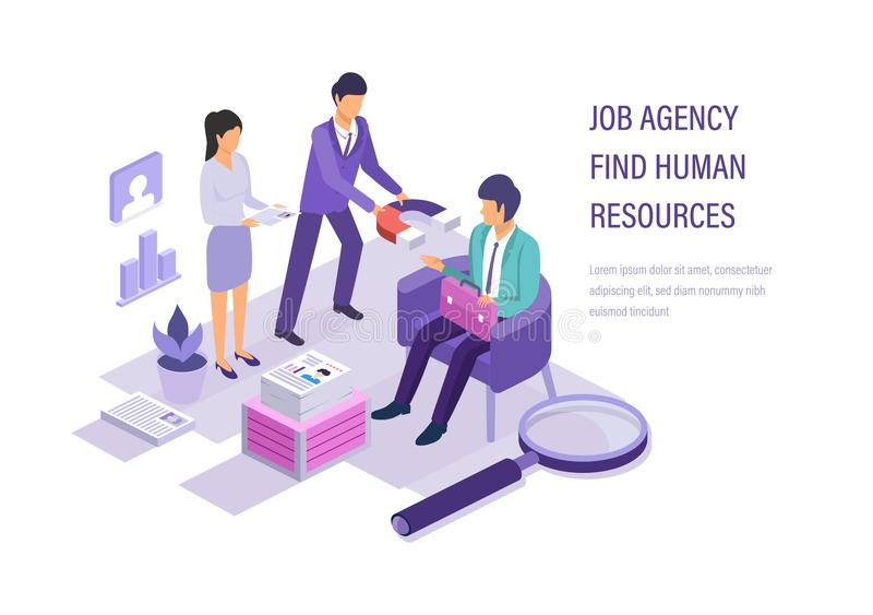 Job agency find human resources. Search working staff, study resume. stock illustration