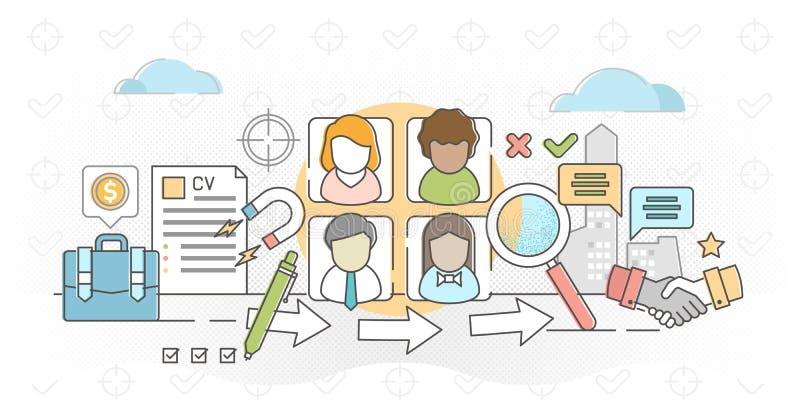 Job agency outline concept vector illustration royalty free illustration