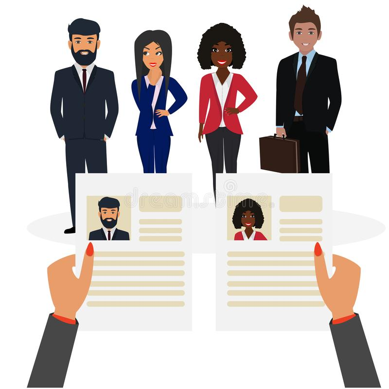 Job agency. Recruiter concept. Choosing a candidate to hire and reading CV. Job agency. Recruiter concept. Hands with curriculum vitae and people. Choosing a stock illustration