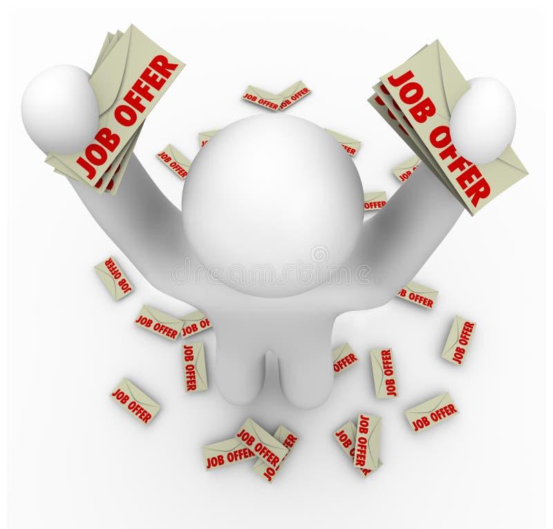 Job-Angebote - Mann mit vielen Job-Angebot-Zeichen vektor abbildung