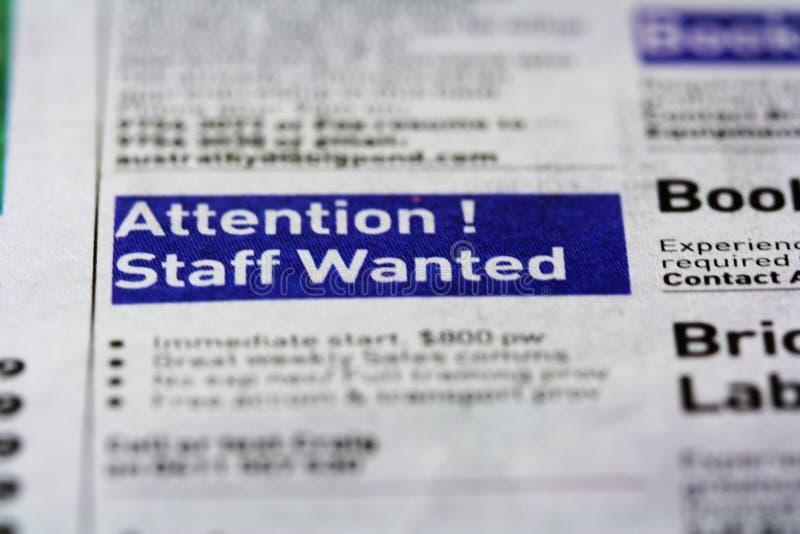 Job-Anzeige - Stab gewünscht lizenzfreies stockbild