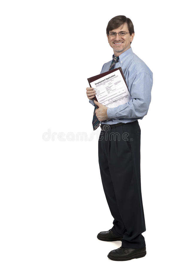 Job applicant. Standing with application in hand, on white stock photos