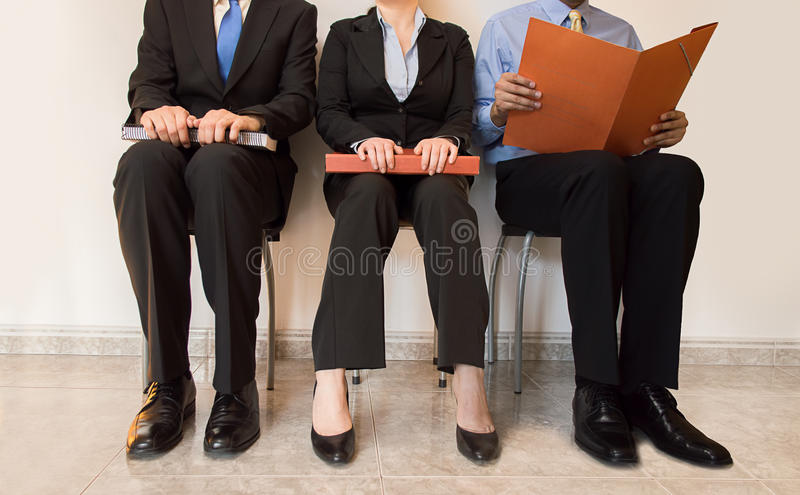 Job applicants sitting royalty free stock photo