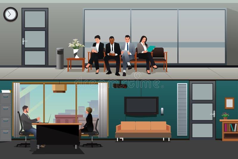Job Applicants Waiting For Interview au bureau illustration libre de droits