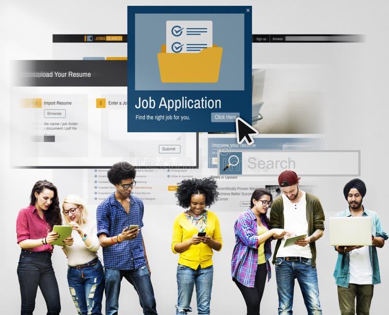 Job Application Apply Hiring Human van middelen voorziet Concept stock afbeeldingen