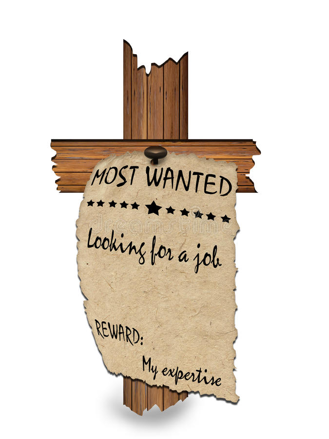 Job application form. Wanted poster on an old paper nailed on a wooden cross, asking for a job royalty free illustration