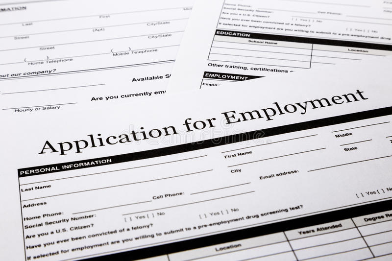 Job Application Form Royalty Free Stock Photos - Image: 31876128