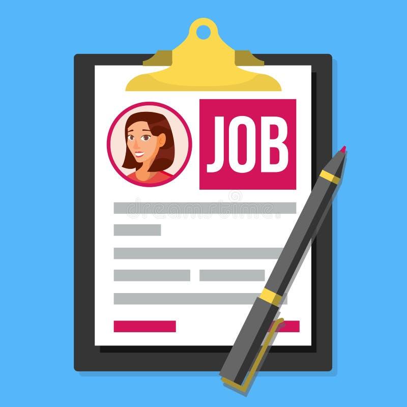 Job Application Form Vector Foto femenina del perfil Concepto de los recursos humanos de la hora Papel con datos financieros y nú ilustración del vector