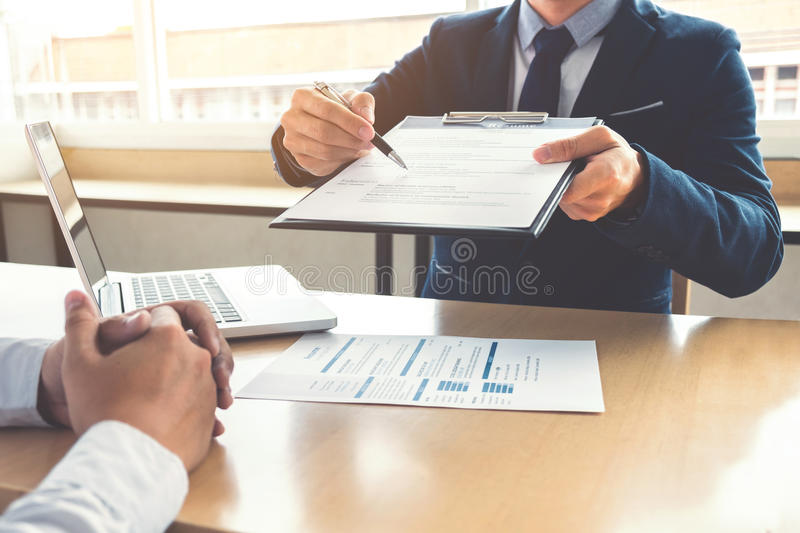 Job application interview, Executive manager filling up the application form to applicant register, Hiring concept.  stock photos