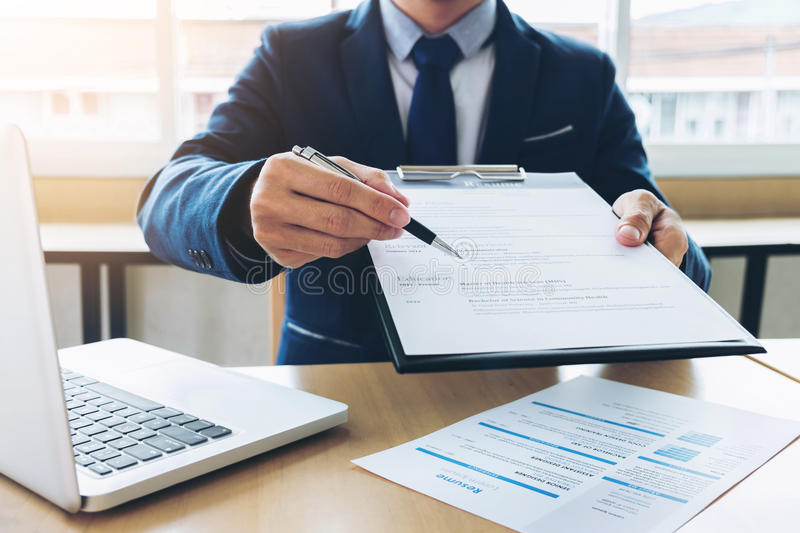 Job application interview, Executive manager filling up the application form to applicant register, Hiring concept.  royalty free stock photography