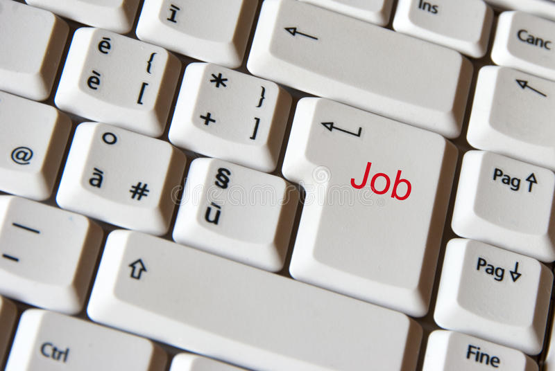 Job auf Tastatur lizenzfreie stockbilder