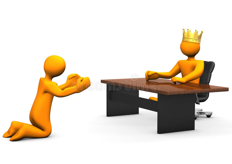 Job Beggar Crown. Beggar kneeling ask for a job. Two orange cartoon characters royalty free illustration