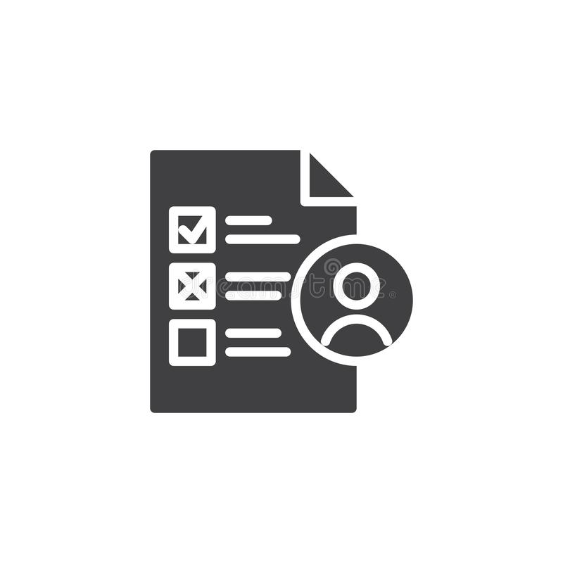 Job candidate vector icon. Filled flat sign for mobile concept and web design. Employee professional skills glyph icon. Symbol, logo illustration. Pixel royalty free illustration
