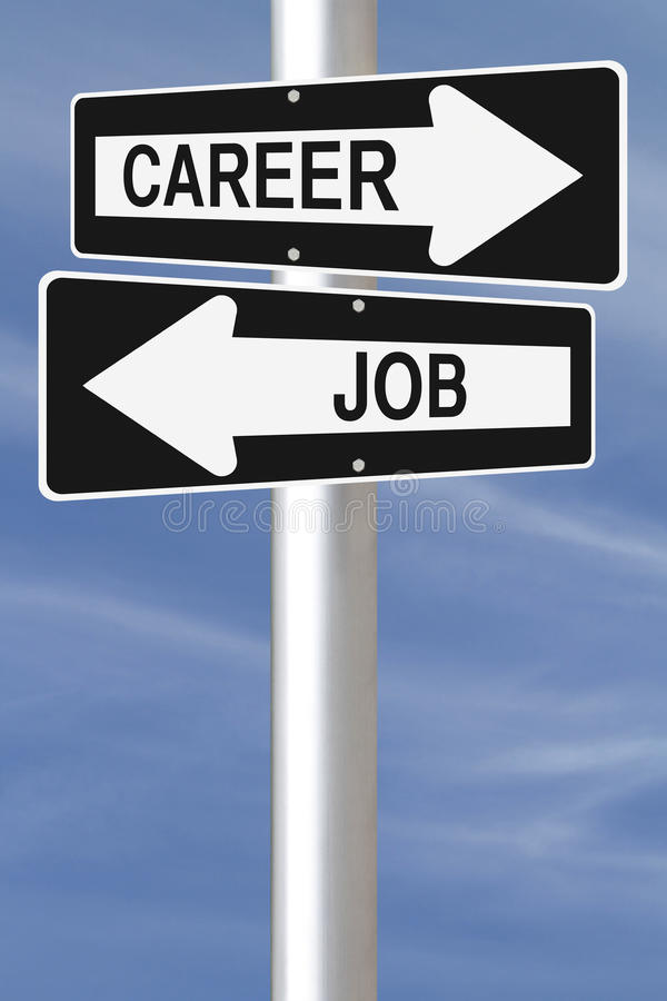 Job Or Career. Conceptual one way street signs on job and career royalty free stock photo