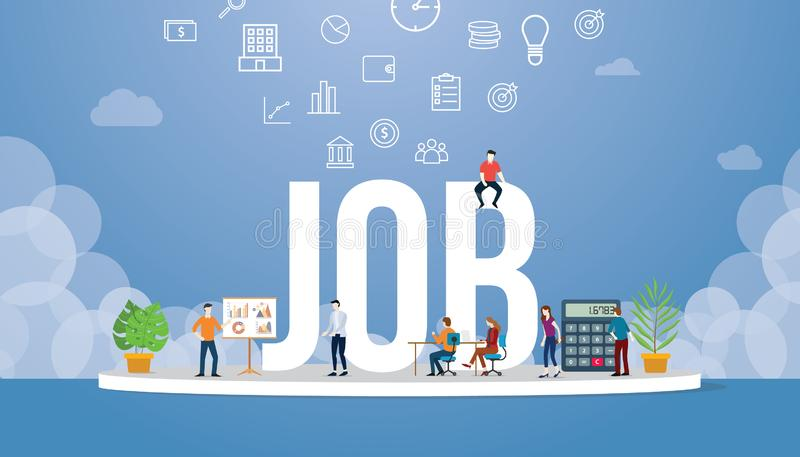Job career with big word style and team people office around with business icon - vector stock illustration