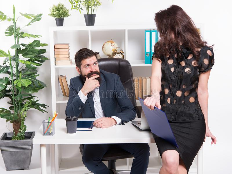 Job and career. Business couple working office. Business people. Couple in office. Successful business team. Man and. Attractive woman. Boss manager director stock image