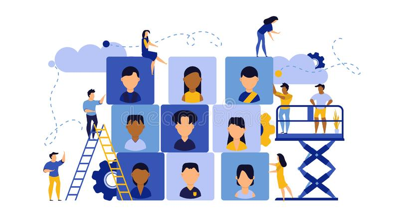 Job career business success agency audience vector illustration. Customer looking office company choice. Banner work man and woman vector illustration