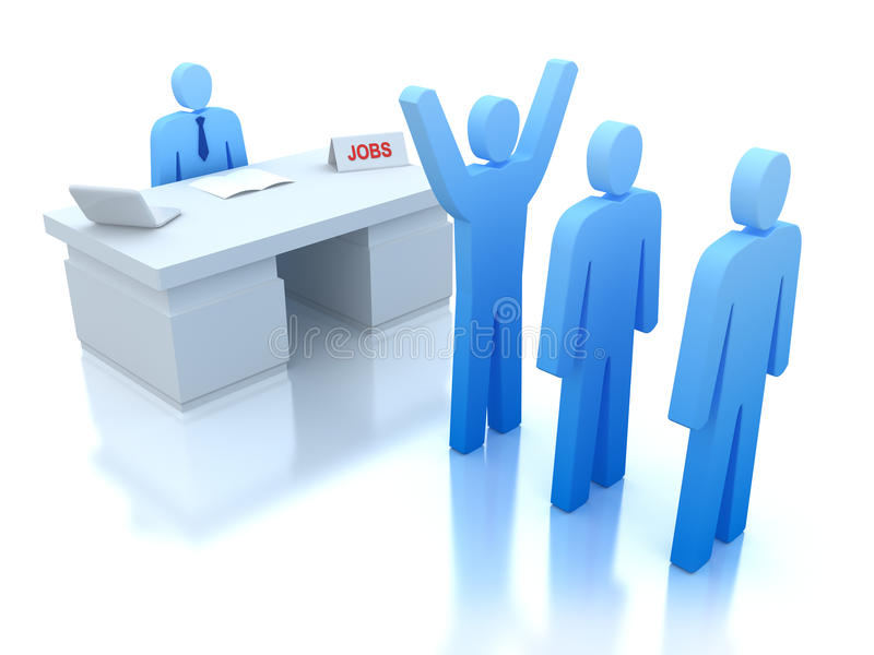 Job Centre : employers testing for employees vector illustration