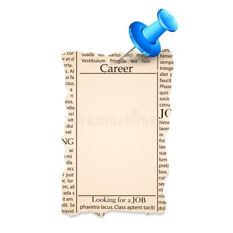 Job Classified in Newspaper. Illustration of bank job classified in newspaper royalty free illustration