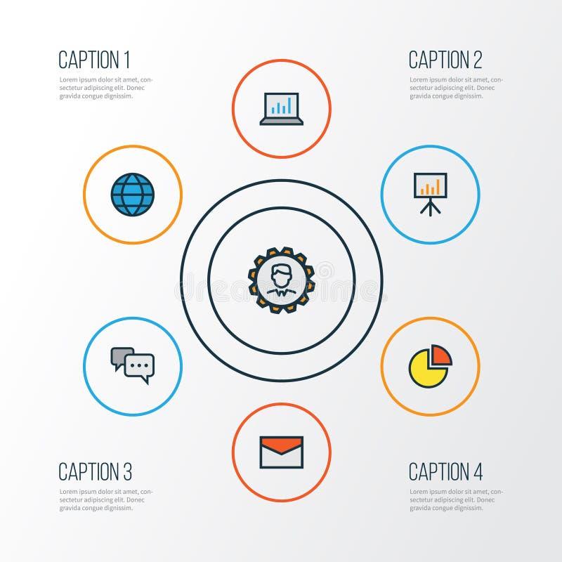 Job Colorful Outline Icons Set Colección de Analytics del ordenador, de mensaje, de presentación de la cartelera y de otros eleme stock de ilustración