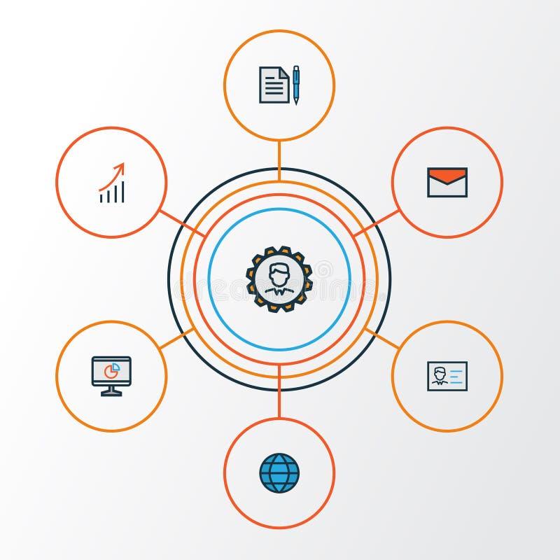 Job Colorful Outline Icons Set Colección de mensaje, acuerdo, administrador And Other Elements También incluye libre illustration