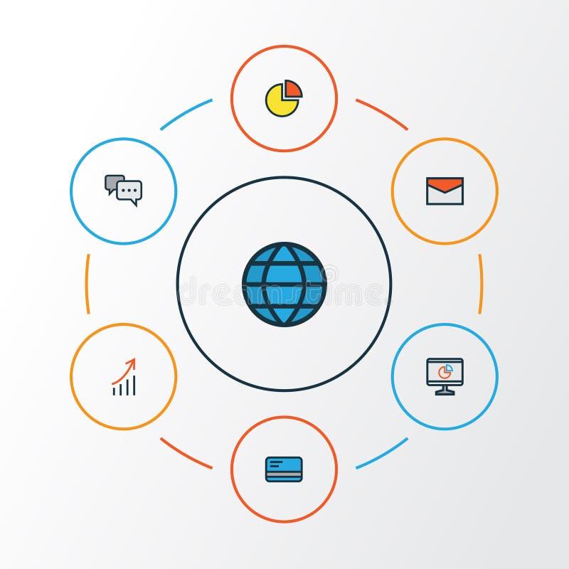 Job Colorful Outline Icons Set Colección de mundo, de efectivo del banco, de gráfico de sectores y de otros elementos También inc ilustración del vector
