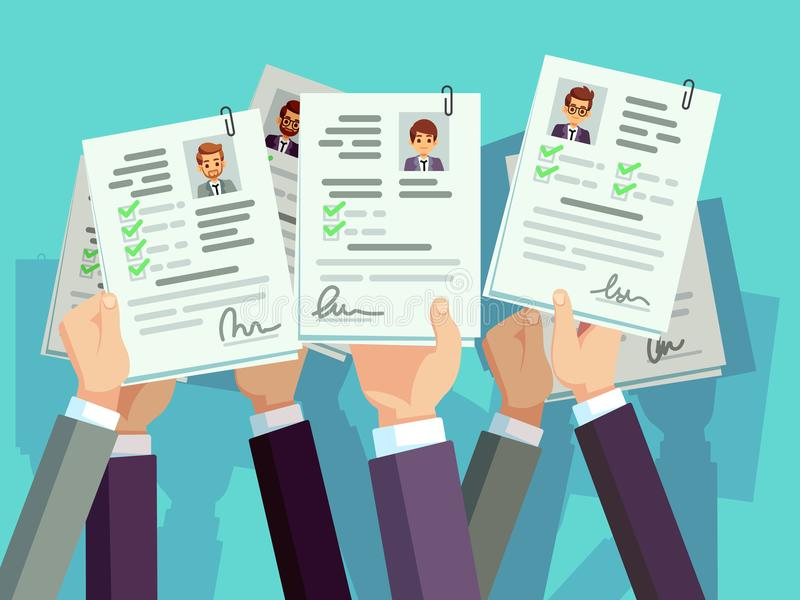 Job competition. Candidates hold cv resume. Recruitment and human resource vector concept stock illustration