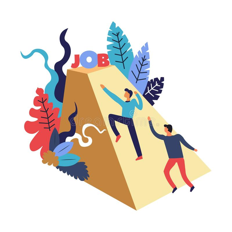 Job competition process with two candidates competing for job offer, climbing pyramid vector illustration