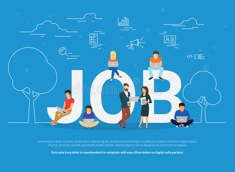 Job concept illustration of business people using devices for job searching and professional growth stock illustration