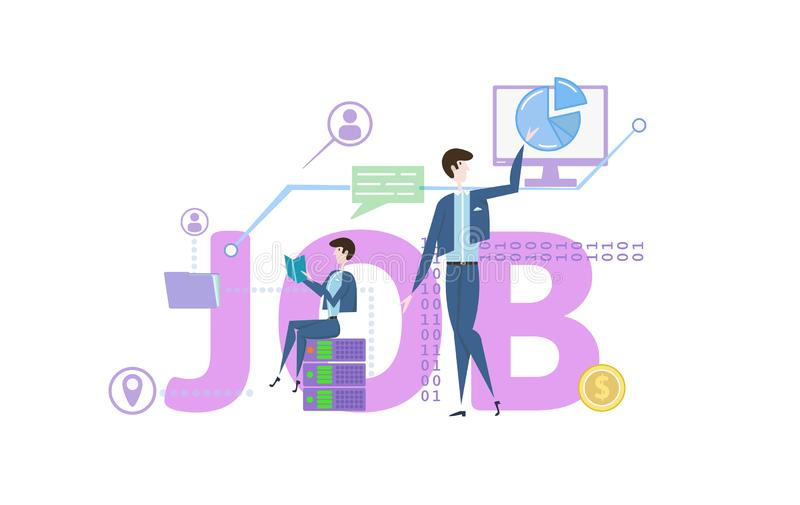 JOB. Concept table with people, letters and icons. Colored flat vector illustration on white background. royalty free illustration