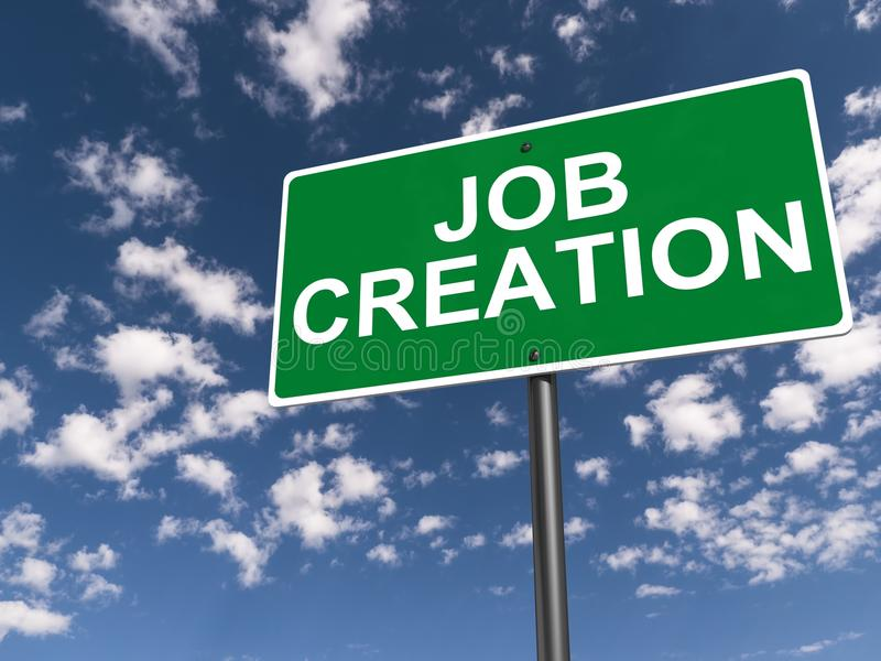Job creation. An illustration of a traffic sign with the text 'job creation stock photography