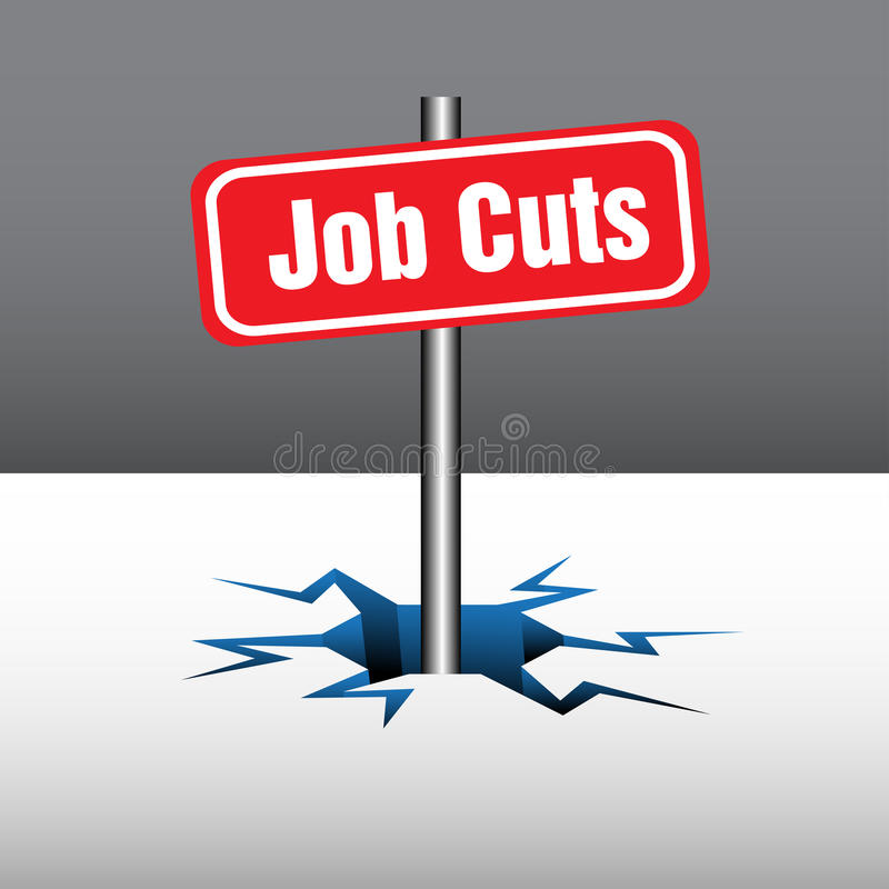 Job cuts. Abstract background with red plate with the text job cuts coming out from an ice crack. Layoffs theme vector illustration