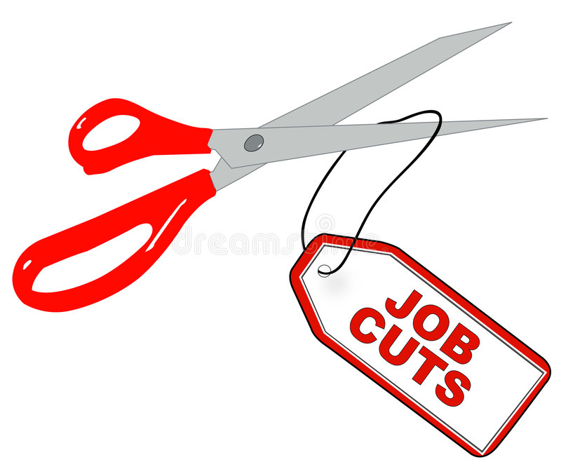 Job cuts. Scissors cutting tag that says - job cuts - vector stock illustration