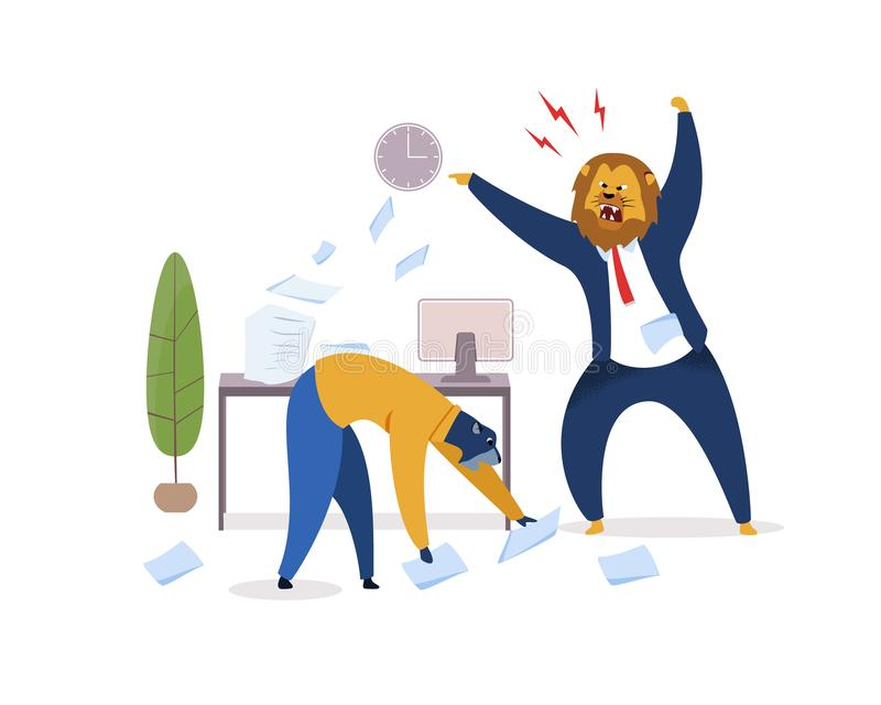 Job Deadline, Work Rush Flat Vector Illustration. Angry Boss with Lion Head Pointing on Clock. Office Workers Metaphor as Animals. Employer Shouting at royalty free illustration