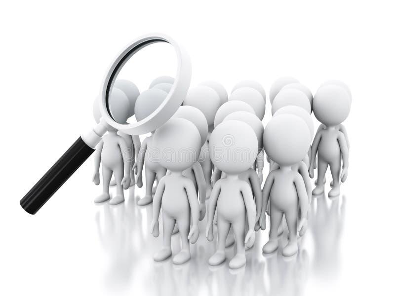Job der Suche 3d mit Lupe über weißen Leuten stock abbildung
