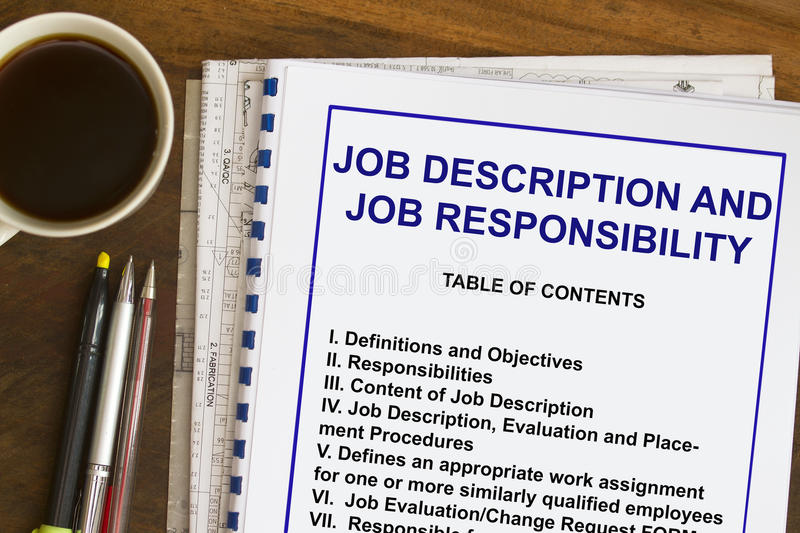 Job description. And responsibilities- many uses in the HR industry royalty free stock images