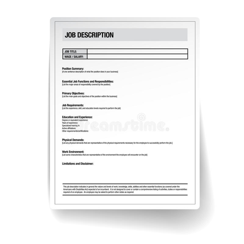 Job Description Template Vector Stock Vector  Illustration Of