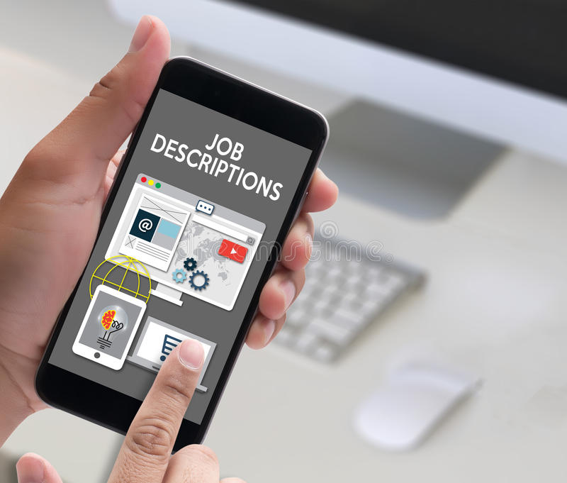 JOB DESCRIPTIONS Human resources, employment, team management J. OB DESCRIPTIONS , PERFORMANCE MANAGEMENT JOB DESCRIPTIONS , Hiring a new employee or recruitment stock images