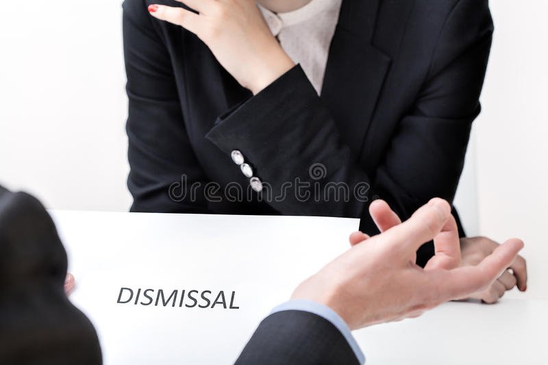 Job dismissal. In the act of women discrimination royalty free stock images