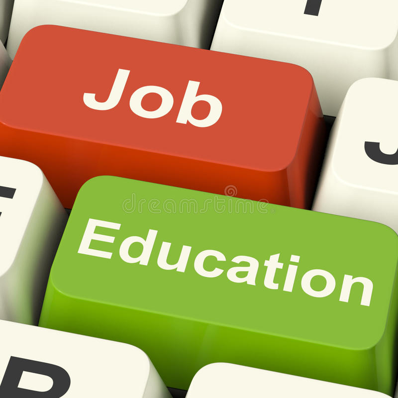 Job And Education Computer Keys Showing Choice Of Working Or Stu. Job And Education Computer Keys Shows Choice Of Working Or Studying stock photo