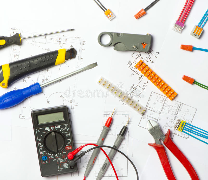 Job electrician royalty free stock photo