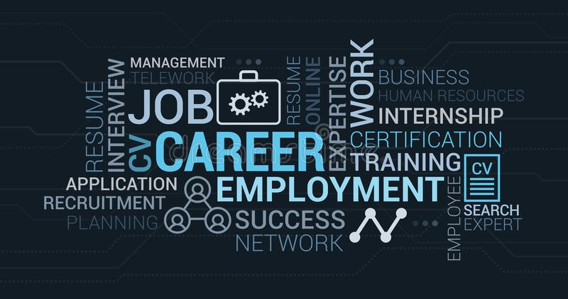 Job, employment and career tag cloud. With words, icons and concepts vector illustration