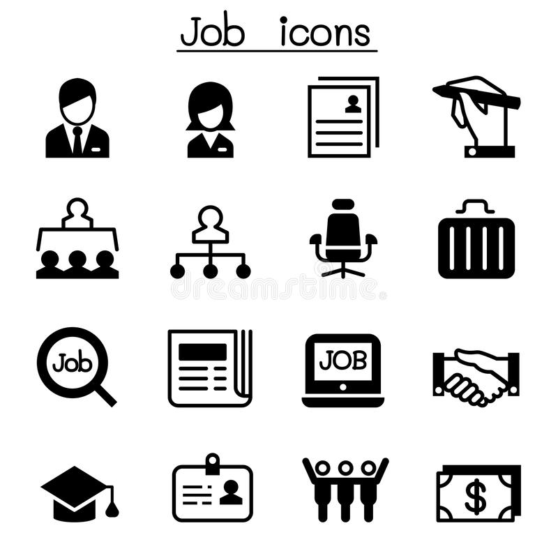 Line Drawing Jobs : Job employment icon set stock vector illustration of